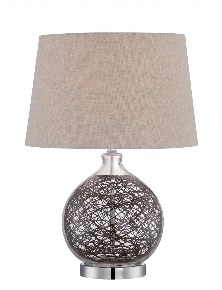 Mi Casa Lighting in Woodland Hills, California, United States, Lite Source Inc. LS-22747, #Table Lamp, Glass Body W.Rattan Deco/Linen Shd, E27 Cfl 23W, Claral