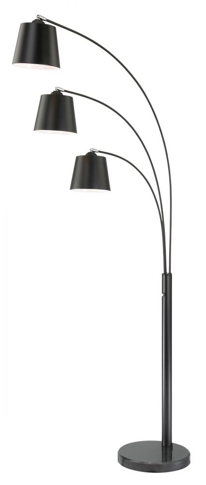 3 Lite Arch Lamp, Black, E27 Type A 60Wx3