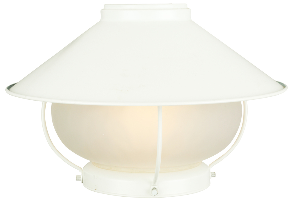 1 Light Outdoor Bowl Fan Light Kit in White with Frosted Glass