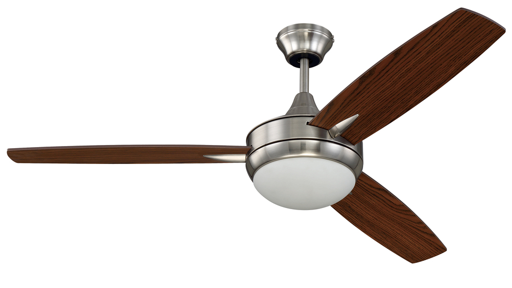 "Targas 52"" Ceiling Fan with Blades and LED Light Kit in Brushed Polished Nickel"