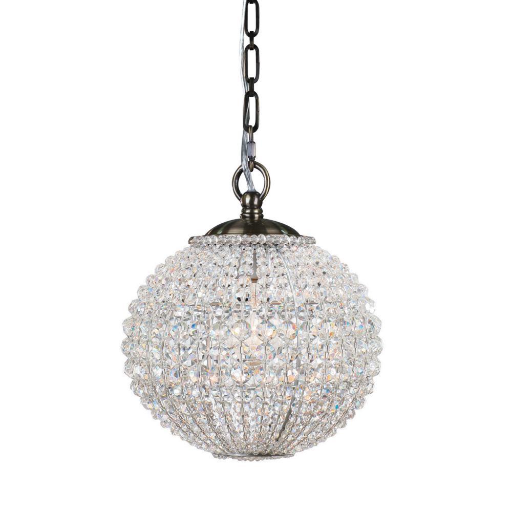 crystorama newbury 1 light crystal sphere brass mini chandelier i