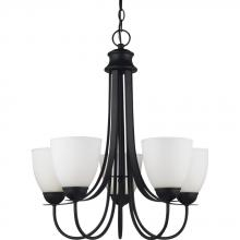 Sea Gull 31271-839 - Uptown Five Light Chandelier in Blacksmith with Satin Etched Glass