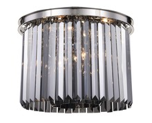 Elegant 1238F20PN-SS/RC - 1238 Sydney Collection Flush Mount D:20in H:13.5in Lt:6 Polished nickel Finish (Royal Cut Crystals)