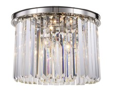 Elegant 1238F20PN/RC - 1238 Sydney Collection Flush Mount D:20in H:13.5in Lt:6 Polished nickel Finish (Royal Cut Crystals)