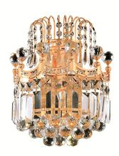 Elegant V8949W12G/SS - 8949 Corona Collection Wall Sconce D:12in H:12in E:6in Lt:2 Gold Finish (Swarovski� Elements Crystal