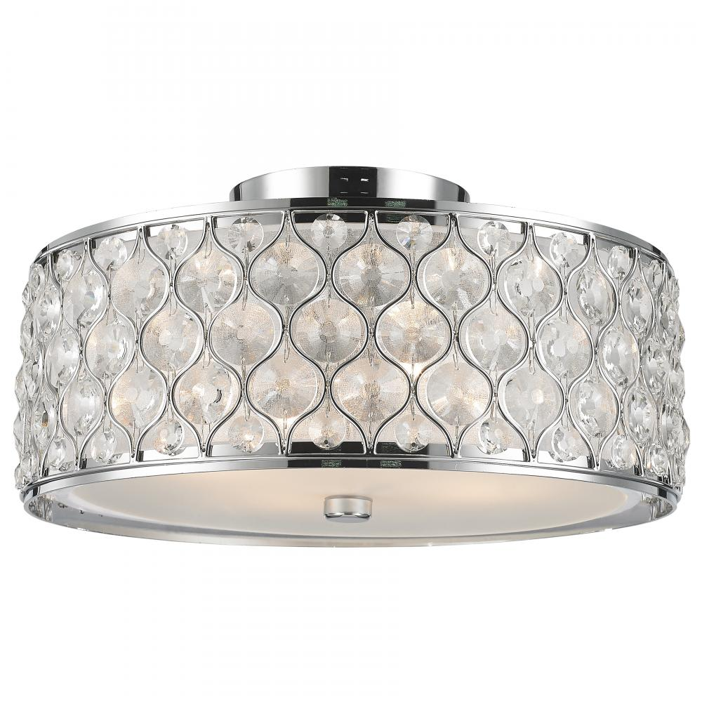 Paris 4 Light Chrome Finish With Clear Crystal Flush Mount